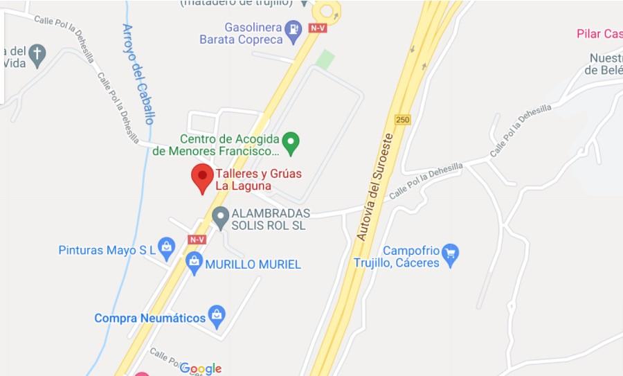 mapa, localización, talleres la laguna, Trujillo